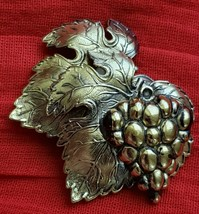 LArge Gold Tone Vintage Antique Germany Pin Brooch Grapes and Leaves - $19.79