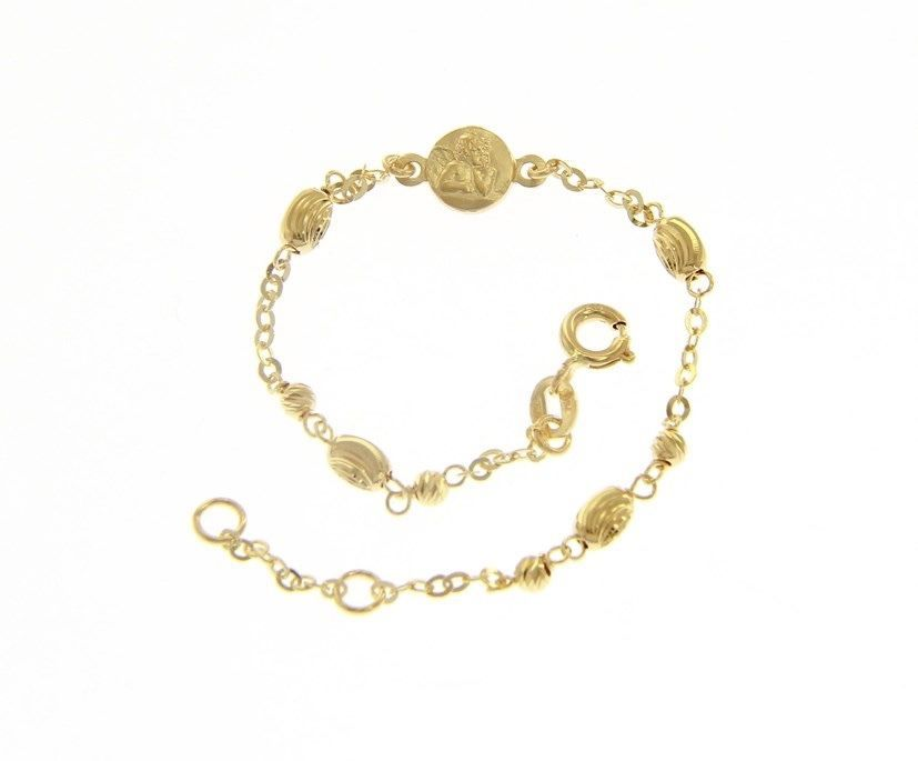 18 KT YELLOW GOLD BRACELET FOR KIDS WITH GUARDIAN ANGEL   MADE IN ITALY  5.91 IN