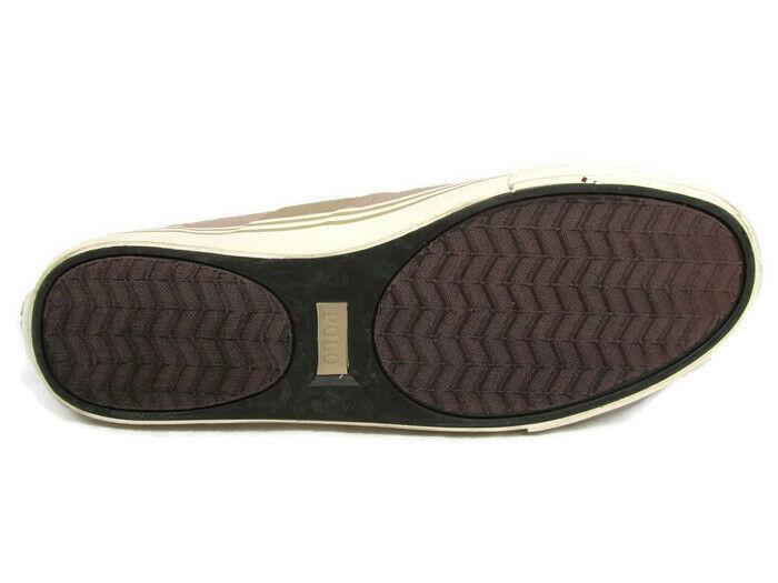 Ralph Lauren Hanford Men's Brown Canvas Fashion Sneaker Shoes Lace Up Size 10D