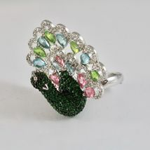 925 Silver Ring Rhodium and Burnished with Zircon Cubic Shaped Peacock image 5