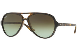 Ray Ban RB 4125 Cats 5000 710/51 Tortoise Plastic Aviator Sunglasses - $185.00