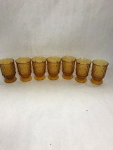 lot 7 pcs VINTAGE Fostoria  AMBER juice Glass American Clear 2056 footed - $32.66