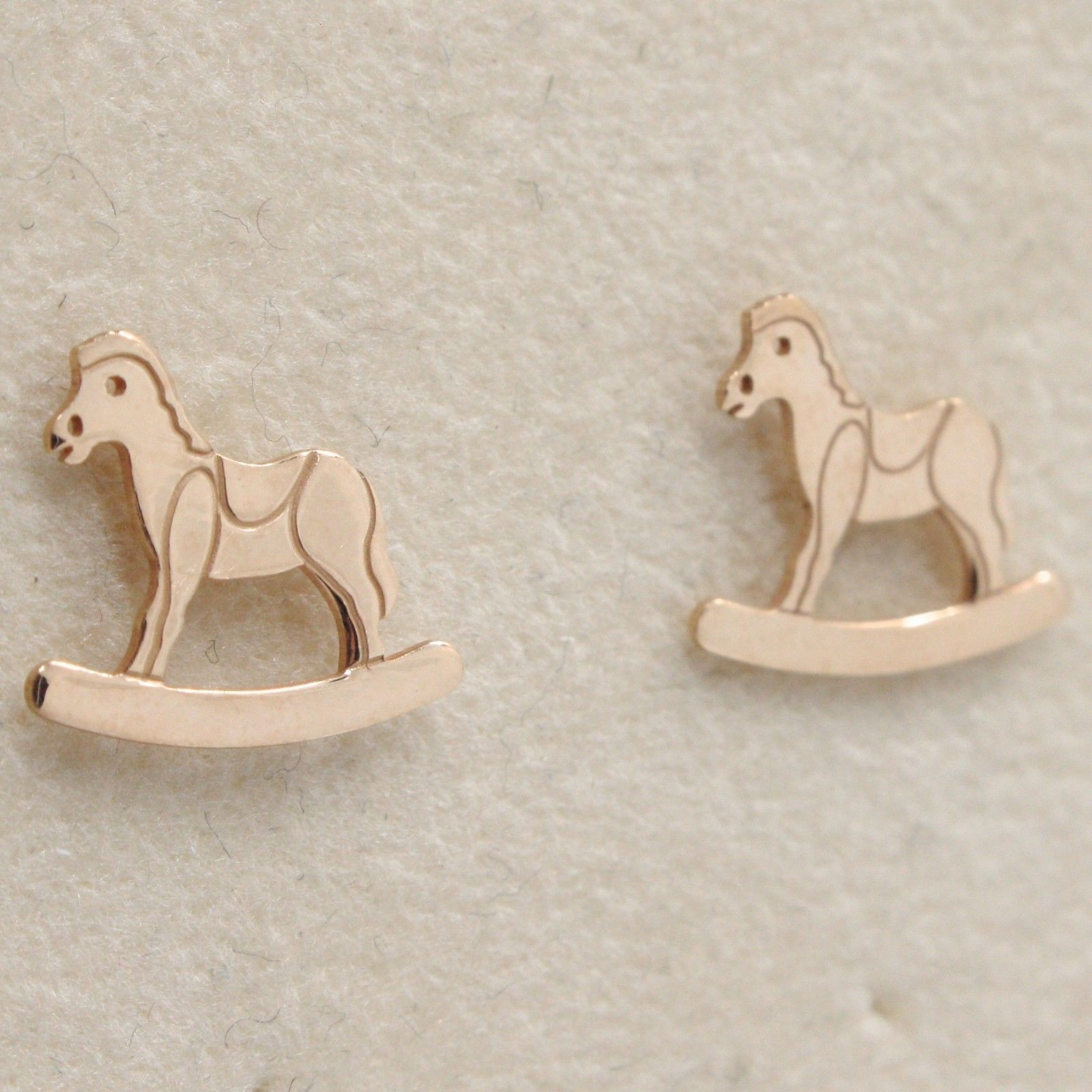 "925 STERLING ROSE SILVER ""LE FAVOLE"" ROCKING HORSE EARRINGS TALE, MADE IN ITALY"