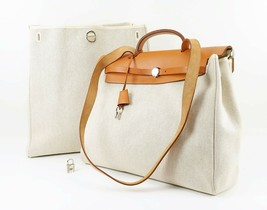Auth HERMES Her Bag 2 in 1 Beige Canvas and Leather Hand Shoulder Bag #3... - $975.00