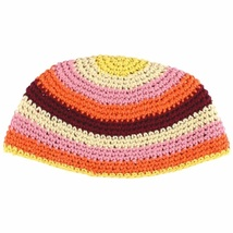 Freak Frik Kippah Yarmulke Yamaka Crochet Orange Pink Cream Striped Israel 21 cm