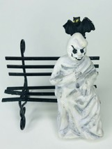 "Enesco Ghost Sitting on a Black Metal Bench 3"" Rare Halloween Miniature 1989 - $15.83"