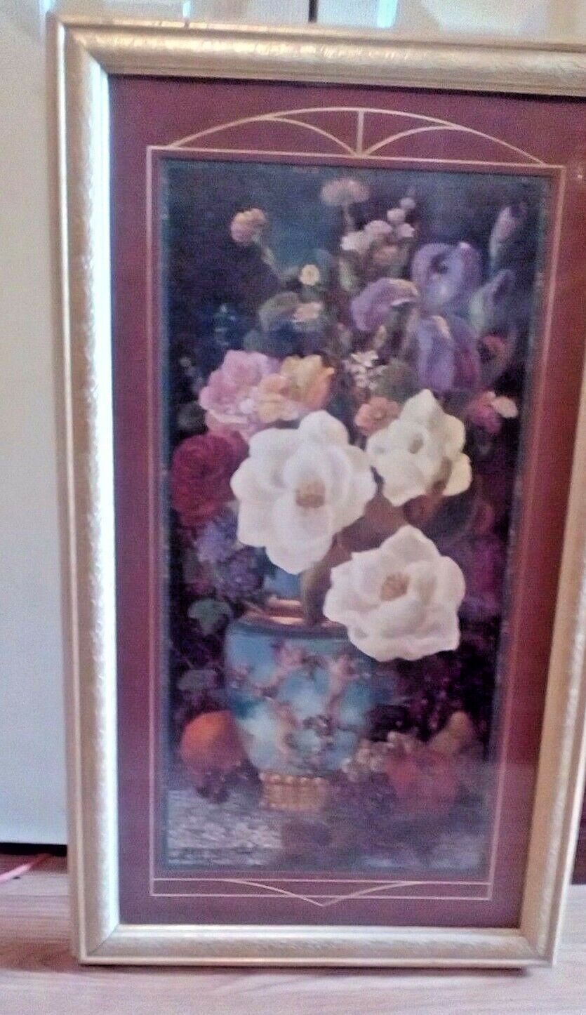 Home Interiors & Gifts.Beautiful Floral Picture Large Rectangle 31 X 18