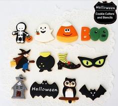 Halloween Cookie Cutters & Stencils Set Skeleton Witch Bat Ghost Owl Bla... - $49.95