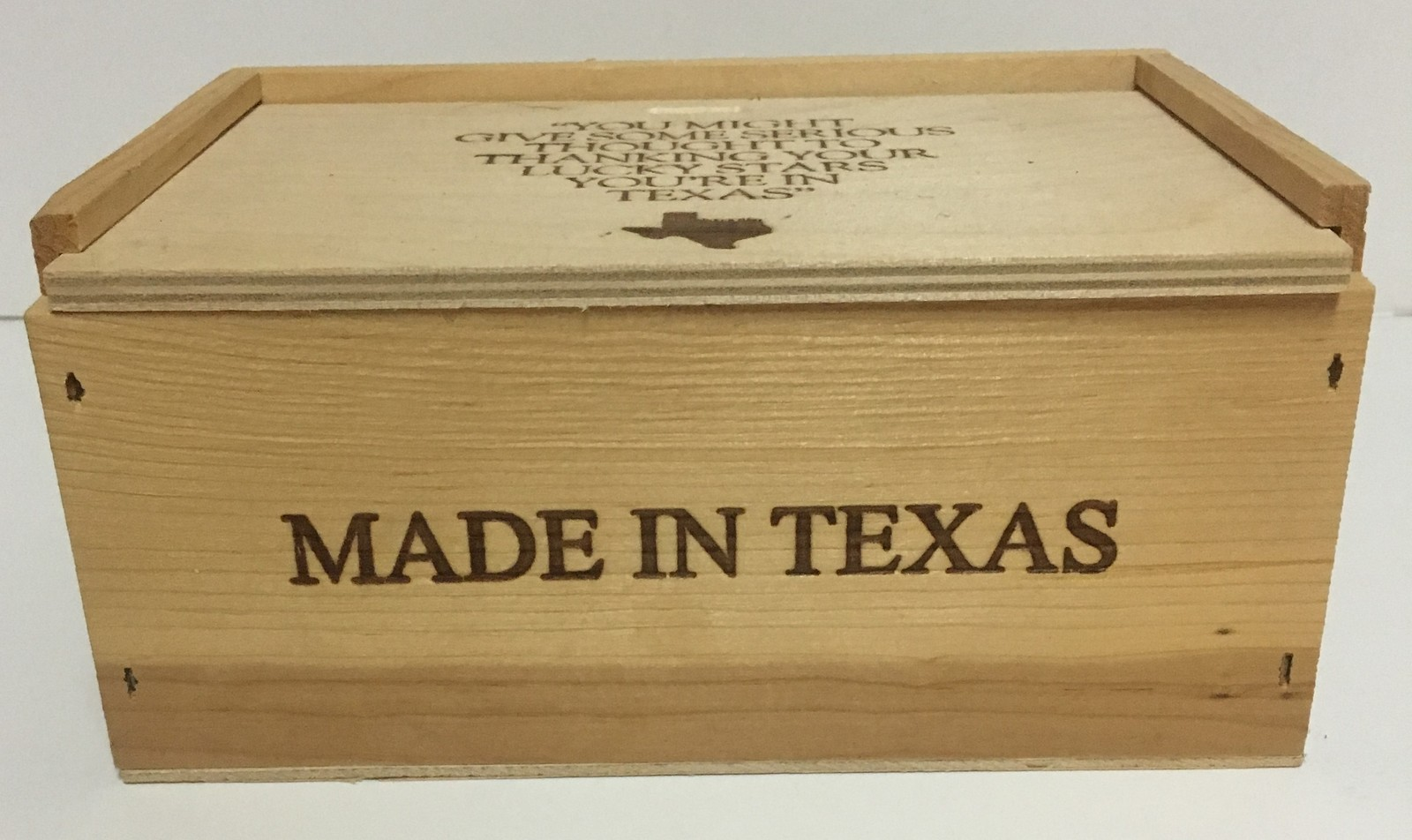 "Made in Texas Wood Pie Storage Box 8"" x 4"" Slide Lid"