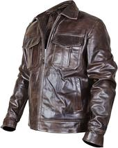 Vintage Motorcycle Copper Rub Off Classic Distressed Brown Biker Leather Jacket image 2