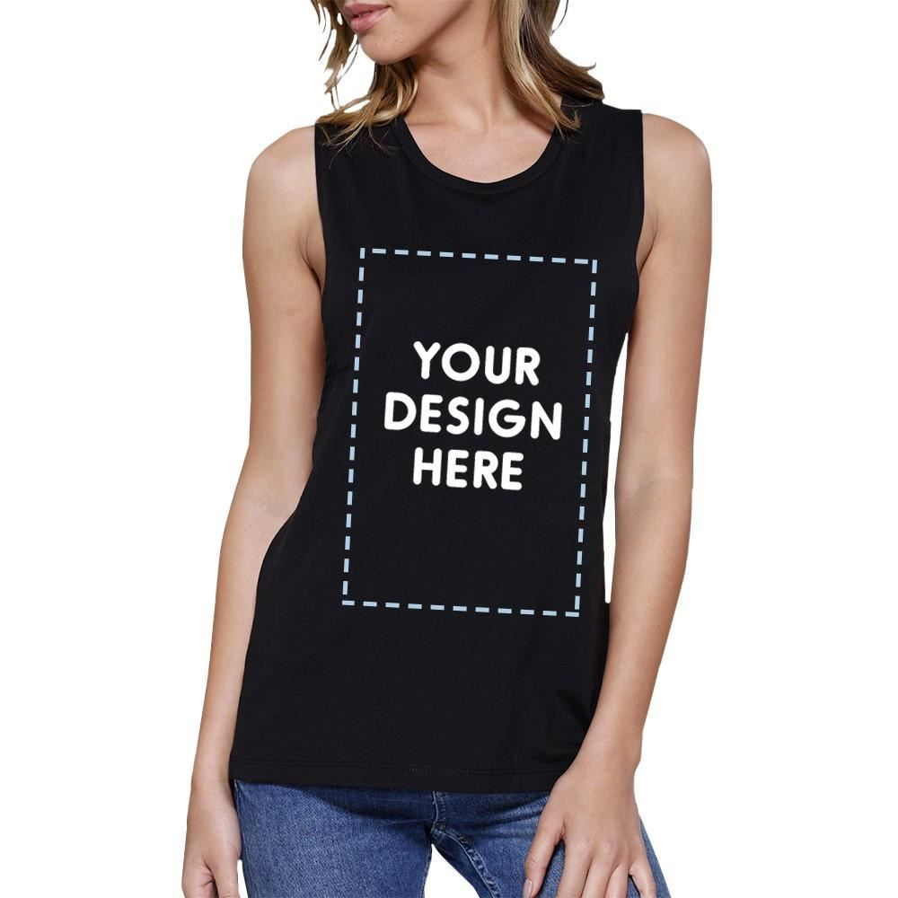 Custom Personalized Womens Black Muscle Top