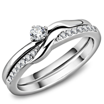 HCJ SMALL SILVER TONE CZ ENGAGEMENT, WEDDING PROMISE RING SET SIZE 8, 9 - $12.59