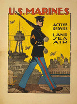 """WWII, US Marines, Recruitment Poster, Military, Soldiers. 8x10"""" Cotton C... - $15.99"""