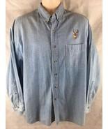 Most Wanted Long Sleeve Button One Pocket Denim Blue Shirt W/ Buck Deer ... - $22.72