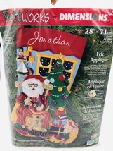 Vintage Felt Works Applique By Dimensions 28'' Christmas Stocking Craft ... - $36.47