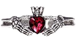 Claddagh By Night Cuff Bracelet Skeleton Hands Red Heart Alchemy Gothic A114 - $54.95