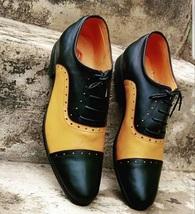 Handmade Men Black & Yellow Leather Heart Medallion Laseup Shoes image 2