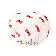 Stylish Design Waterproof Double Layer Shower Cap Spa Bathing Caps, White Bow