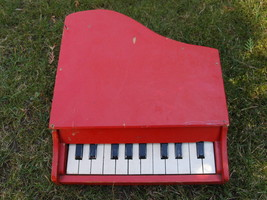 Antique Soviet USSR Wooden Painted Red Wood Toy Baby Grand Piano For Re... - $13.85