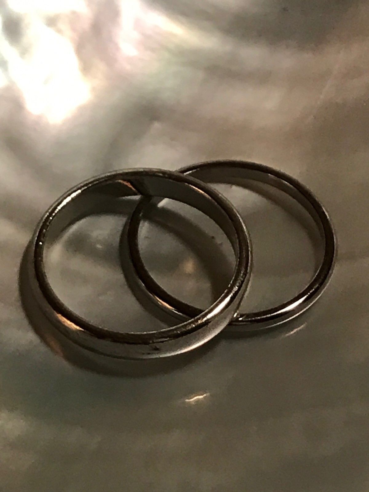 Estate Lot of 2 Simple Silvertone Band Stacking or Not Ring Size 8 - width of