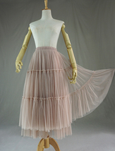 Adult Bridesmaid Tiered Tulle Skirt, Nude Pink Tulle Skirt with Belt,Photo Shoot image 8