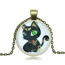 BLACK EGYPTIAN CAT CABOCHON NECKLACE >> MYSTERY ITEM INCLUDED << (8473) - $2.96
