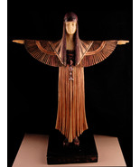 Egyptian Goddess Statue - art deco WInged goddess figurine - exotic egyp... - $165.00