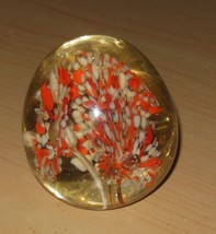 Round Clear Glass Paperweight Orange White - $16.82