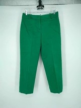 Talbots Womens Hampshire Crop Pants Green Stretch Flat Front Slit Hem Po... - $21.14