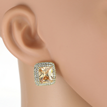 UNITED ELEGANCE Princess Cut Faux Topaz Earrings With Swarovski Style Crystals - $24.99