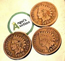 Indian Head Penny 1899, 1900, and 1901 AA20-CNP2134 Antique
