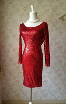 Sexy Wine Red Fitted Long Sleeve Open Back Sequin Dress Short Prom Dress image 4