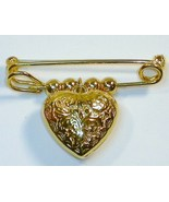 Hollow Heart pin filigree with trumpet flowers ... - $12.00