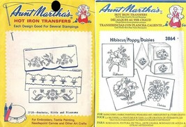 Hibiscus Poppy Daisies Birds & More Aunt Martha's Hot Iron Transfers #37... - $2.96
