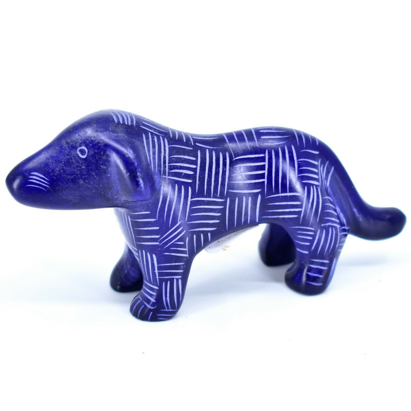 Tabaka Chigware Hand Carved Kisii Soapstone Dark Blue Standing Puppy Dog Figure
