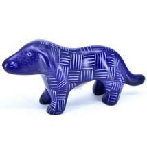 Tabaka Chigware Hand Carved Kisii Soapstone Dark Blue Standing Puppy Dog Figure image 1