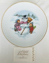 "Child's Christmas Decorative 8"" Plate Porcelain 22K Gold Rim 1986 Avon in Box - $24.18"
