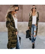 Camouflage knit open front cardigan sweater - $28.71+