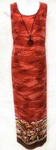 R&K Sz 16W Rayon Red Hawaiian Maxi Tank W/Tie Back Womens Dress W/Neckla... - $27.55
