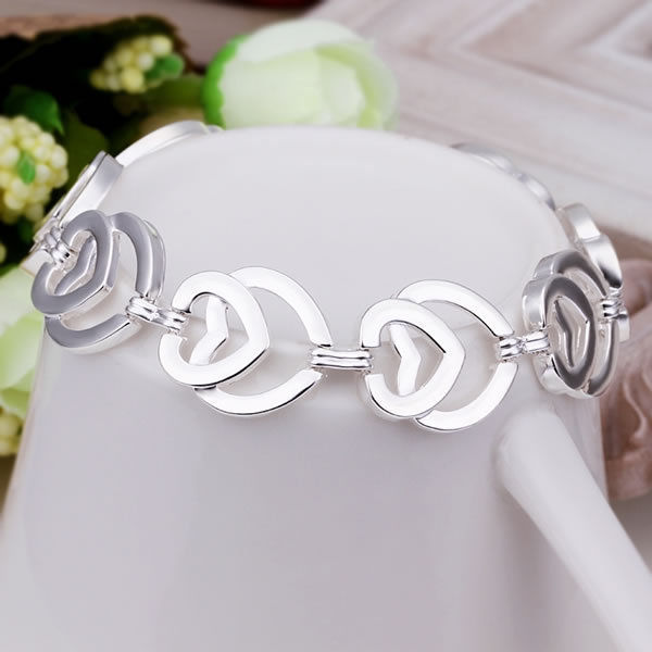 Primary image for Layered Heart Charm Bracelet 925 Sterling Silver NEW