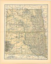 Original 1903 Antique Map Population Table North Dakota Dodd Mead & Co 1... - $27.47