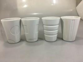 Starbucks Set of 4 White Bone China 8 oz Cups Tumblers 2008 - $41.65
