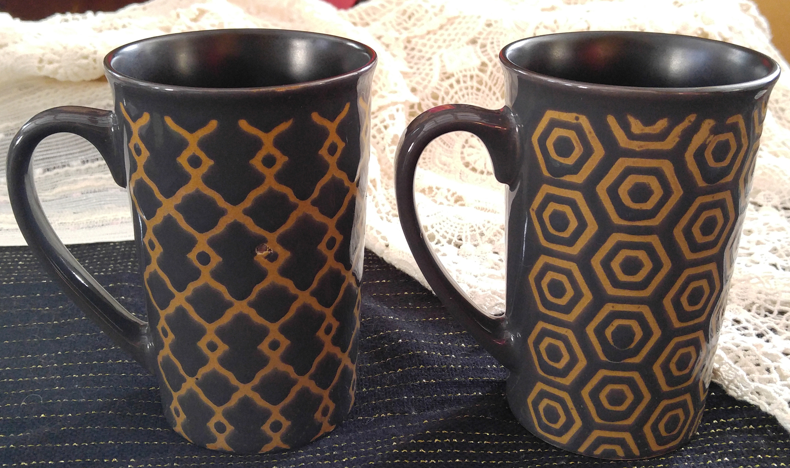 "Mikasa Pair of Two 16 oz. Stoneware Mugs in the ""Vintage Slate"" Design"