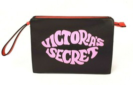 Victoria's Secret Black Red Just Add Lipstick Makeup Wristlet Beauty Zip Bag NWT - $14.73