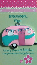Happy Camper - Pink Needleminder cross stitch needle accessory - $7.00