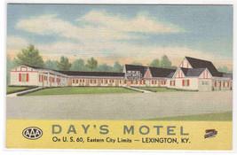 Day's Motel US 60  Lexington Kentucky linen postcard - $5.94