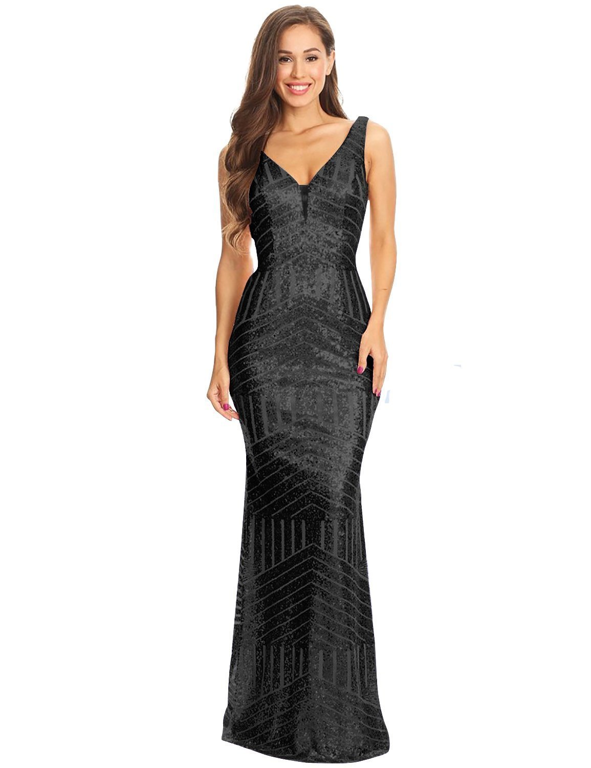 Women's 2018 Sequin Mermaid Long Prom Dress Empire Waist V Neck Evening Gowns