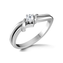 Beautiful RD Cut White CZ Diamond 14K White Gold Fn Solitaire Engagement Ring - $55.99