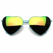 Heart Shape Sunglasses Vintage Mirror Lens New Womens Fashion Metal Fram... - $6.75+