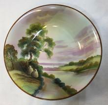 "Noritake Bowl Landscape Painted Road Along River Edge Tree Farm Fields 9"" Scenic - $15.98"